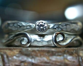Swirl 9ct gold or recycled sterling silver wedding & engagement ring set. Ethical lab grown Moissanite. Hand made in the UK