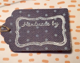 "Black dotted ""Handmade By"" Paper Gift Tag"