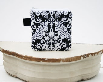 Charger Cord Cubbies|Zipper Bag for Chargers|Phone Cord Tablet Cord  Bag|Travel Bag Chargers Cubbie|Zipper Pouch in Black and White Damask