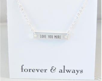 Love You More,Silver Bar,Silver Necklace,Love you,Bar Necklace,Necklace,Bar Necklace,Initial,Long Necklace,Layered Necklace,Long and Layered