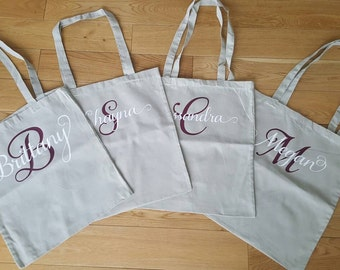 Personalized bridal party totes (canvas bags)