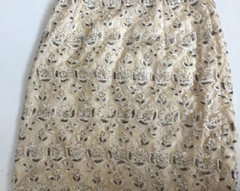 Cache vintage skirt beaded  beige size s small