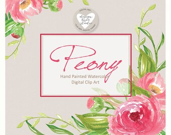 Watercolor Peony clipart, Spring flower clipart, Pink Floral Clipart, Leaf clipart,  Wedding Clip Art, wedding invitation