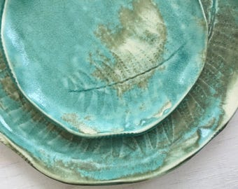 Turquoise Patina Fern Fronds ceramic accent plate set