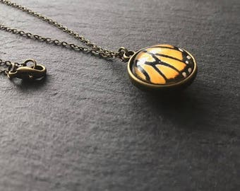 Yellow Necklace Butterfly Wing Necklace Long Necklace