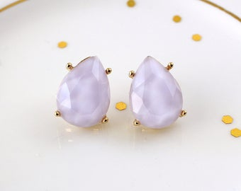 Tiny Tear Drop Lavender  Color Stone Studs Earrings, Lilac Studs Earring,  Bridal Earrings, Bridesmaid Earrings