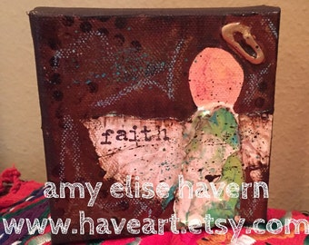Small Angel original painting with texture 4x4