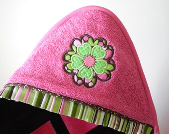child hooded towel hippie bohemian flower appliqué many colors available shower gift birthday gift