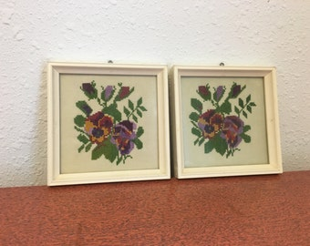 Vintage Needlepoint, Framed Cross Stitch, Pansy Flowers, Shabby Chic Pictures
