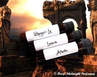 MYSTICAL LANDS Perfume Oil Sample Set:  Three mini vials, exotic, florals, earthy