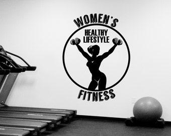 Womens Fitness Club Logo Wall Decal Vinyl Window Sticker Art Decorations for Sports Room Gym Bodybuilding Center Studio Decor Ideas fgm21