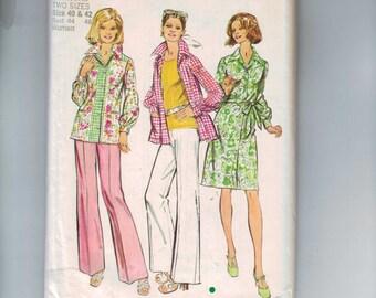 1970s Sewing Pattern Simplicity 5643 Misses Dress Pants Top Plus Size 40 42 Bust 44 46 1973 70s UNCUT