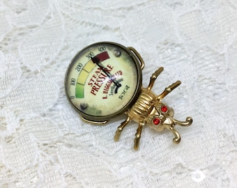 Steampunk 24k Electroplated Bug Brooch Pin