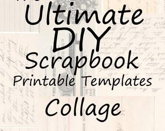 The Ultimate DIY Scrapbook Printable Templates Collage + Plain Templates