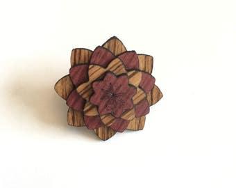 Purple Heart & Zebra Wood Lapel pin - Wood Lapel Pin - Mens lapel flower