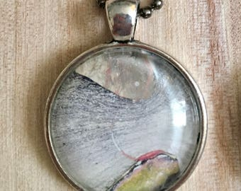 Pendant Necklace, Vintage Retro Vibe, Antiqued Silver Color, Fashion Jewelry, Boho, Hippie, Abstract Art, One of a Kind, 25mm Cabochon