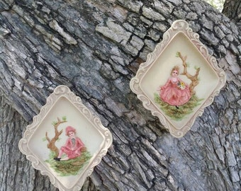 OMG! Pair Mini Vintage Shabby Victorian Renaissance Man Woman Gentleman Lady Romance 3D Resin Wall Plaques Frames