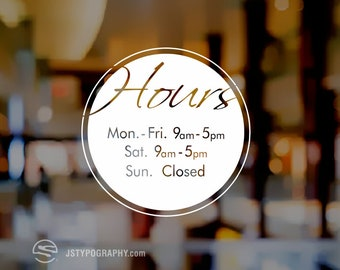 Store hours decal, Business hours decal, Custom store hours decals, personalized store hours decals, store hours signs, Store hours stickers