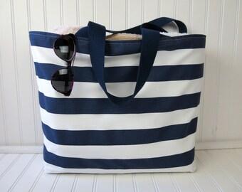 Striped Beach Bag  -Travel Gift - Large Beach Bag - Waterproof Beach Bag - Beach Bag with Zipper - Pool Bag