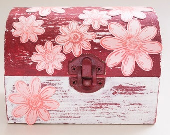 hand-decorated wooden box of flowers