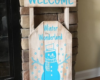 Welcome Snowman Sled