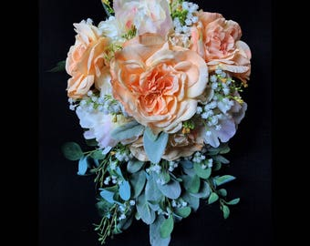 Quick Ship - Light Peach Cascading Bride's Bouquet with Garden Roses, Peonies, Baby's Breath and Lamb's Ear