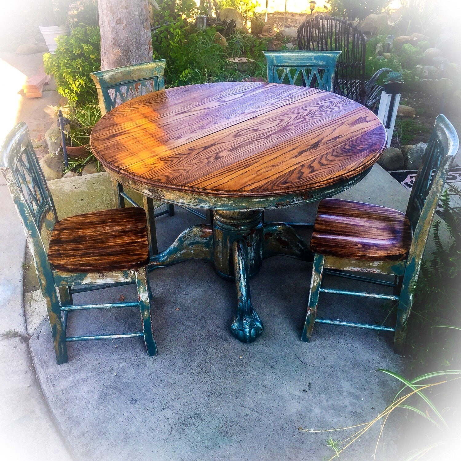 SOLD Burnt Oak Table & Chair Set large distressed