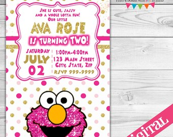 DIGITAL Elmo Glitter party invitation,
