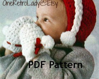 Hat and Mitten Crochet Pattern, Cap Pattern, Up to 2 Years Size, Vintage 1950, PDF Instant, PDF Instant, Digital Download