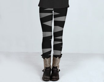 Gray leggings with ballerina stripes in black, bandage leggings, handmade, yoga pants, ballerina tights