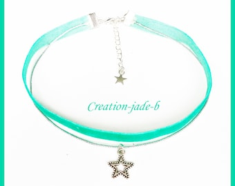Choker necklace / Choker turquoise with star
