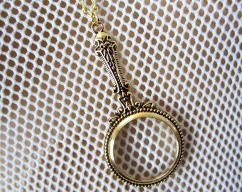 Magnifying Glass Necklace Pendant Antique Gold