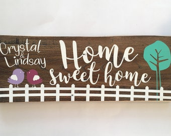 Personalized Home Sweet Home, Wooden Sign, Home Decor, Rustic Wooden Sign, Rustic Sign