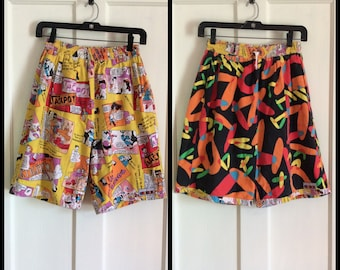 Vintage 1980's Reversible Surf Board Shorts Swim Trunks looks size 30-32