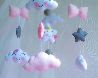 Baby mobile, Baby Crib Mobile, Felt Mobile, pink  star cloud mobile, girl mobile, nursery mobile