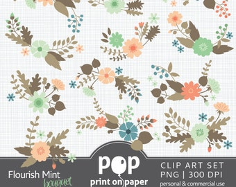 Flower Clip Art FLOURISH MINT BOUQUET digital clip arts, planner stickers, invites, blog header, website header, spring florals, stationery