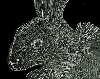 Rabbit Monoprint. A5 or A4 inkjet print. Alice in Wonderland