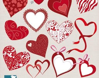Valentines Hearts Clip Art -  Heart Digital Clipart / Red heart Digital Scrapbooking  - INSTANT DOWNLOAD