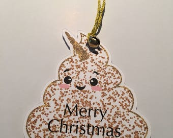 Poopsicorn Unicorn Poo Christmas Gift Tag Label With Jingle Bell