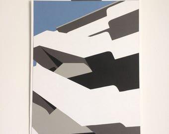 Isokon Building and Blue Sky - Original handcut paper artwork