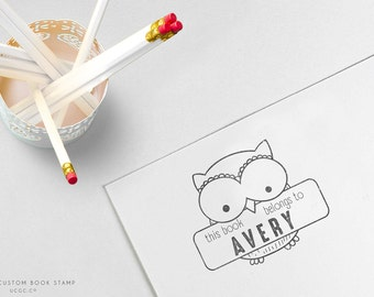 This Book Belongs To OWL STAMP - Custom NAME Stamp, Typography Rubber Stamp, Children's Books