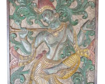 Antique Handcarved Artisan Vintage Fluting Krishna under Kadambari Wish Fullfilling Tree, Wall Hanging ,Carved Panel FREE SHIP
