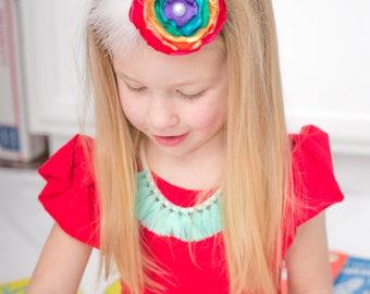 Rainbow flower headband- colorful baby and girls headband- singed flower headband- rainbow baby headband/ rainbow headband