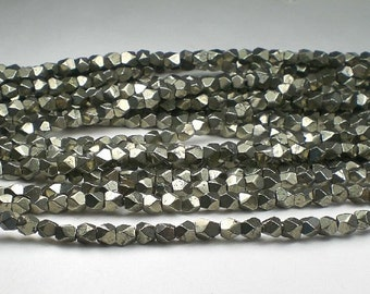 Faceted Pyrite Nugget Beads 5mm Pyrite Beads 30 pcs.
