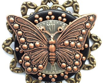 Butterfyfly Necklace - Copper Butterfly Pendant - Insect Jewelry - Unique Butterfly Pendant - Garden Jewelry - Bridesmaid Jewelry