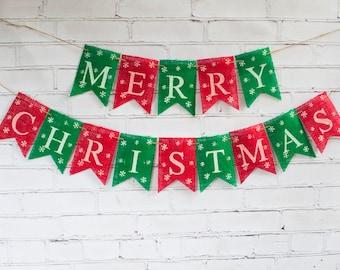 red green merry christmas banner christmas burlap banner merry christmas burlap banner - Burlap Christmas Banner