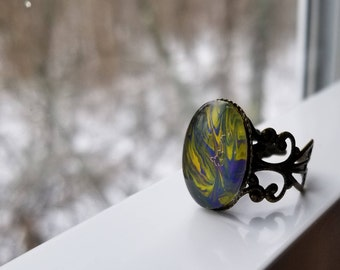 Abstract hand painted ring