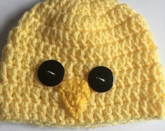 Baby chick hat chick hat baby beanie newborn beanie Easter  baby hat yellow beanie