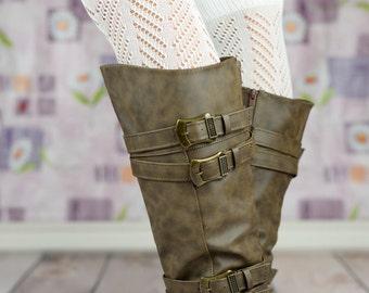 Chevron Laced Boot Cuffs - White, Gray, Black