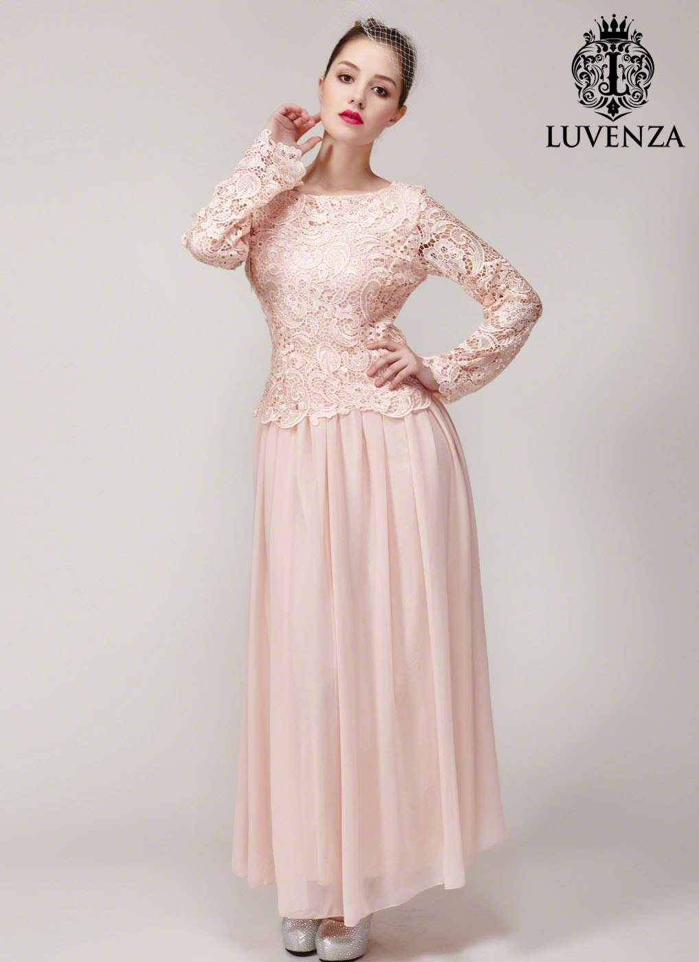 Nude pink lace bridesmaid dress long sleeve maxi dress zoom ombrellifo Gallery